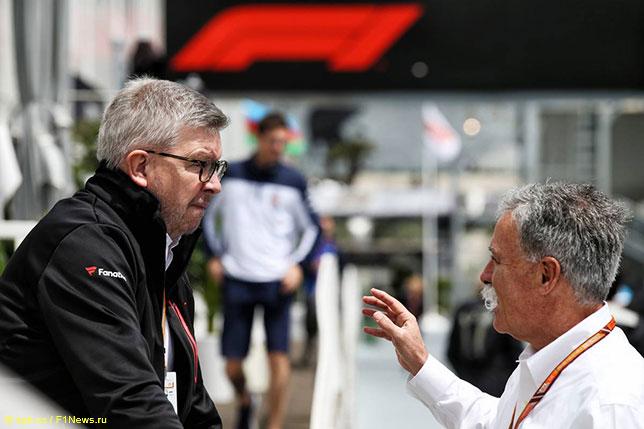 Нынешние руководители Формулы 1 – Чейз Кэри (справа) и Росс Браун, спортивный директор чемпионата