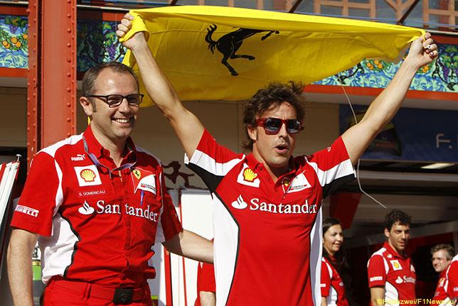 Стефано Доменикали и Фернандо Алонсо поле победы Ferrari в Гран При Европы 2012 года