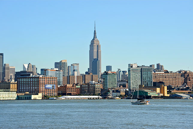 Вид Нью-Йорка со стороны Гудзона и Нью-Джерси