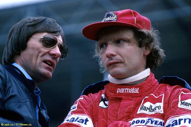 Берни Экклстоун и Ники Лауда в 1978 году, когда он был хозяином и руководителем Brabham