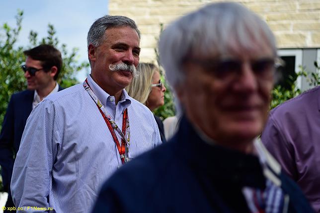 Чейз Кэри, исполнительный директор Формулы 1, и Берни Экклстоун