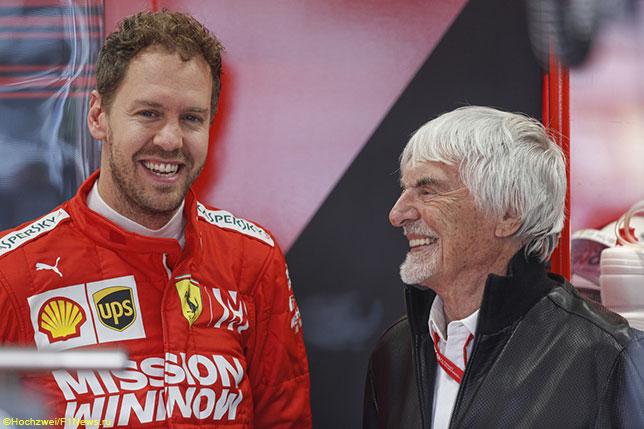 Берни Экклстоун и Себастьян Феттель на Гран При Бразилии