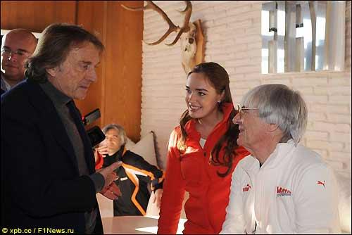 Берни Экклстоун (справа) и Лука ди Монтедземоло, президент Ferrari. В центре дочь Экклстоуна Тамара