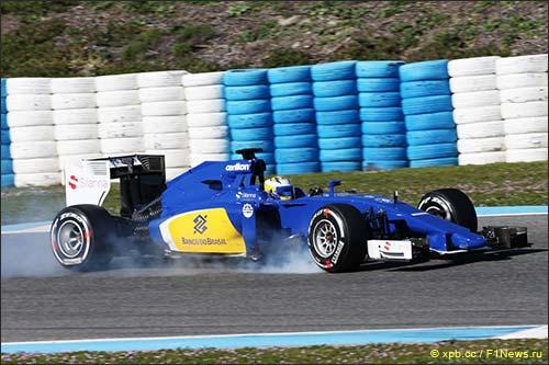 Маркус Эриксон за рулём Sauber C34 на тестах в Хересе