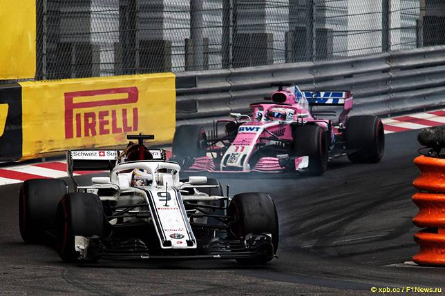 В Монако на протяжении многих кругов Маркус Эриксон сдерживал натиск Серхио Переса