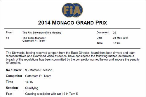 Решение стюардов Гран При Монако о наказании Маркуса Эриксона