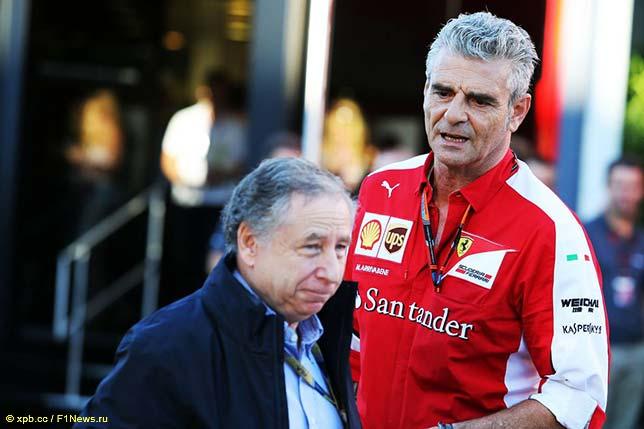 Жан Тодт, президент FIA, и Маурицио Арривабене, руководитель команды Ferrari