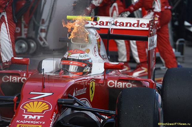 Возгорание, возникшее на машине Кими Райкконена в Мельбурне