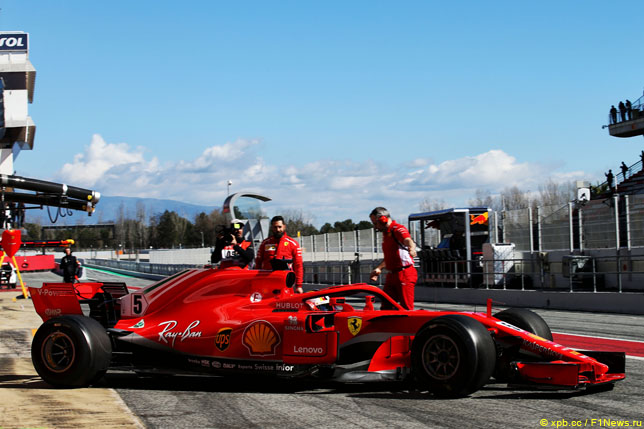 Ferrari на тестах в Барселоне, 2018 год
