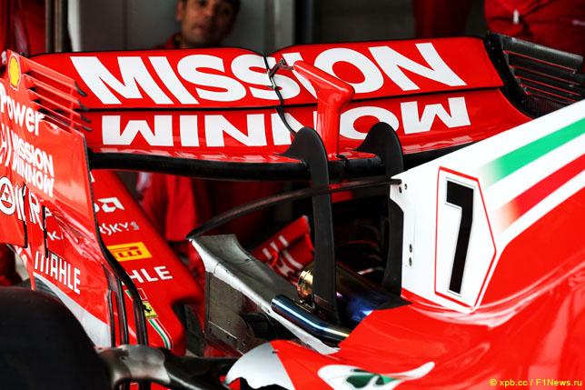 Логотип Mission Winnow на заднем антикрыле Ferrari