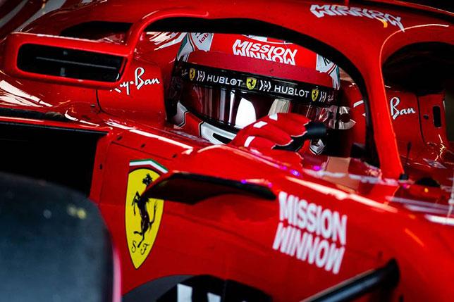 Логотипы Mission Winnow на машине Ferrari на тестах в Абу-Даби