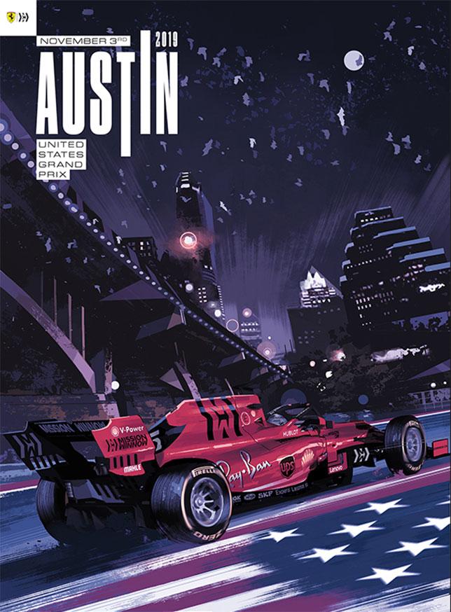 Постер Ferrari, посвящённый Гран При США 2019 года, фото пресс-службы команды