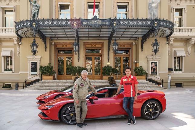 Клод Лелуш и Шарль Леклер на съёмках в Монако