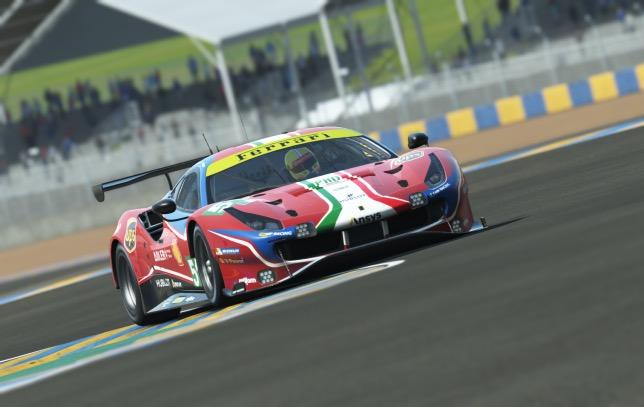 Виртуальная Ferrari GTE 488 на трассе в Ле-Мане