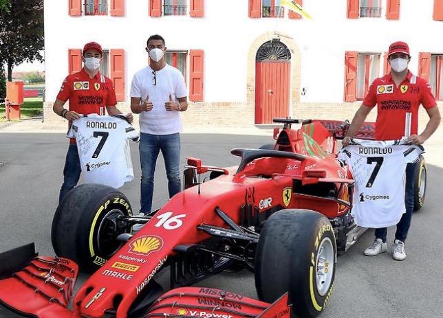 Гонщики Ferrari и Криштиану Роналду, фото пресс-службы Ferrari