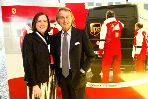 Кристин Оуэнс, старший вице-презицент UPS и Лука ди Монтедземоло, президент Ferrari