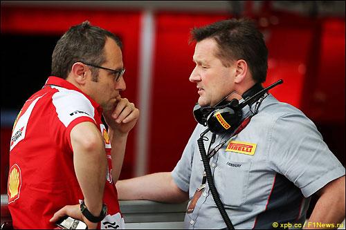 Пол Хембри, Pirelli Motorsport (справа) и Стефано Доменикали, руководитель команды Ferrari