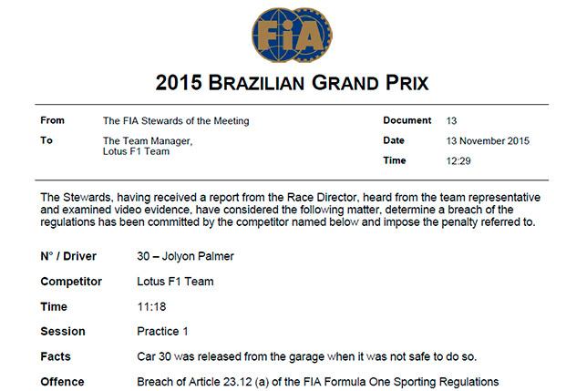 Решение стюардов о наказании команды Lotus