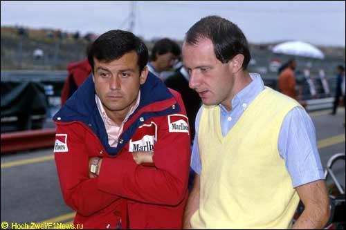 Марко Пиччинини (справа) и Патрик Тамбэ, ГП Нидерландов, 1983 год