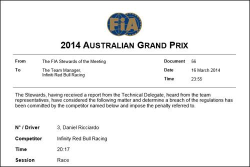 Решение стюардов об исключении Риккардо из протокола гонки