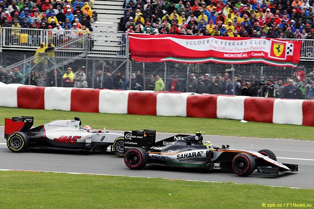 Серхио Перес, Force India, ведёт борьбу с Романом Грожаном, Haas F1, на трассе Гран При Канады
