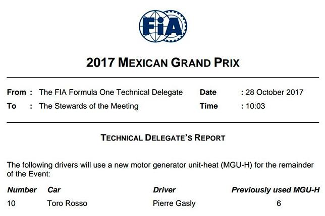Пилот «Торо Россо» Гасли пропустил квалификацию Гран-при Мексики «Формулы-1»