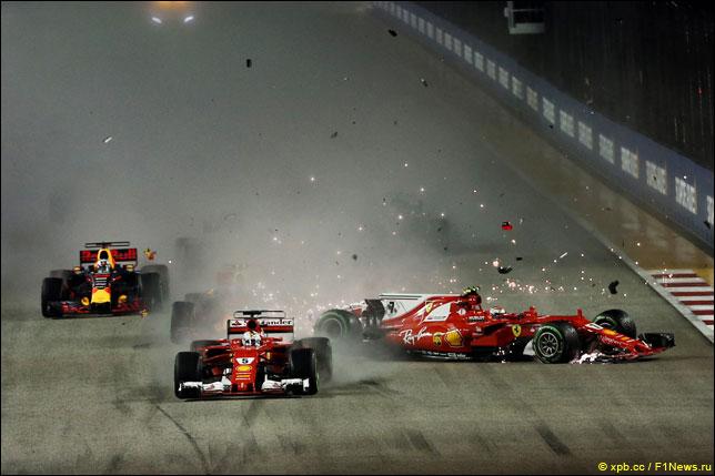 Столкновение на старте Гран При Сингапура
