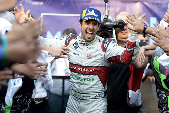 Лукас ди Грасси празднует победу в Мехико, фото пресс-службы Audi Motorsport