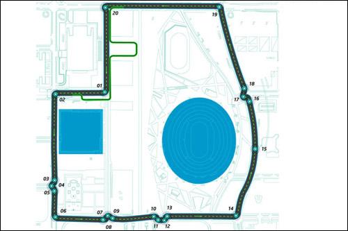 Конфигурация трассы Формулы E в Пекине