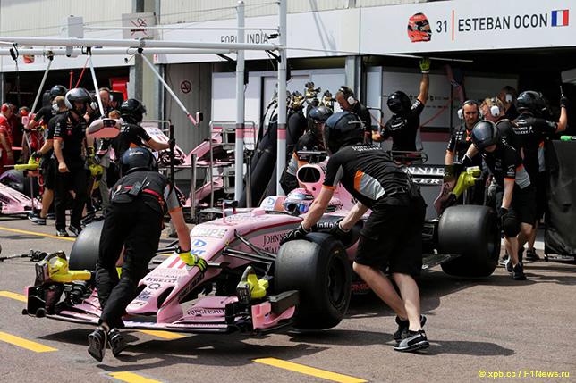 Боксы Force India на Гран При Монако