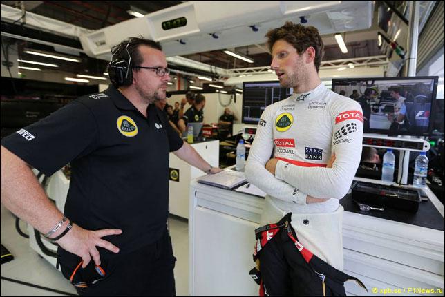Роман Грожан со своим гоночным инженером