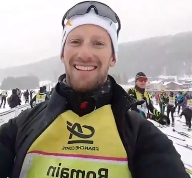 Роман Грожан среди участников лыжного марафона