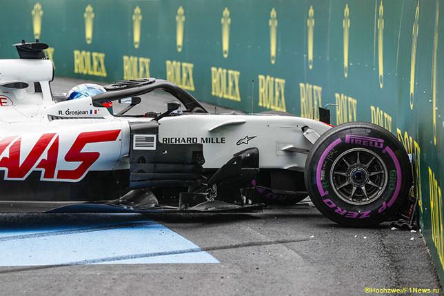 Роман Грожан после вылета с трассы Гран При Франции