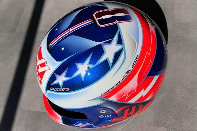 Новая раскраска шлема Грожана к Гран При США. Фото пресс-службы команды