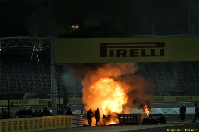 Пожар в результате аварии Романа Грожана