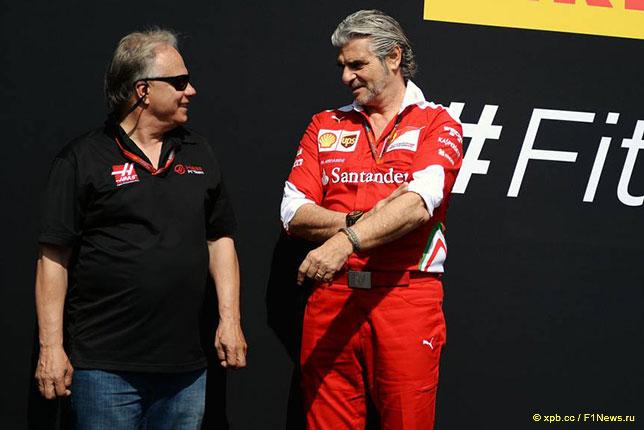 Джин Хаас и Маурицио Арривабене, руководитель команды Ferrari