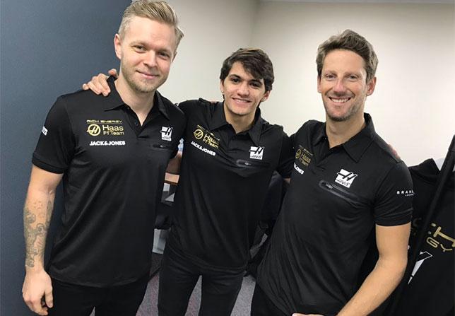 Кевин Магнуссен, Пьетро Фиттипальди и Роман Грожан в новой униформе Haas