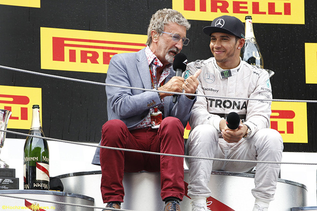Эдди Джордан и Льюис Хэмилтон после финиша Гран При Испании, 2014 год