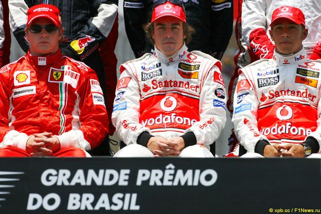 Кими Райкконен, Фернандо Алонсо и Льюис Хэмилтон – три претендента на титул перед стартом Гран При Бразилии 2007