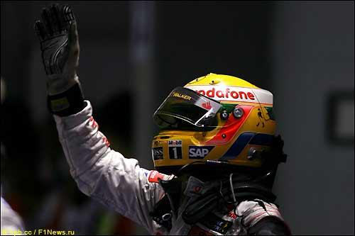 Льюис Хэмилтон после финиша Гран При Сингапура