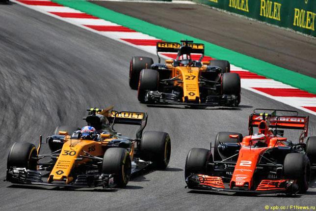Борьба Джолиона Палмера, Стоффеля Вандорна и Нико Хюлкенберга в Гран При Австрии