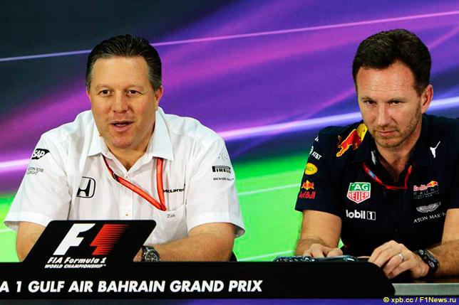 Зак Браун и Кристиан Хорнер на пресс-конференции FIA в Бахрейне