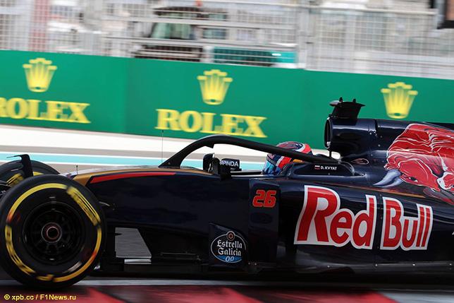 Прототип Halo на Toro Rosso Даниила Квята во время испытаний системы в Абу-Даби, 2016 год