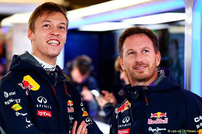 Даниил Квят и Кристиан Хорнер в 2015 году