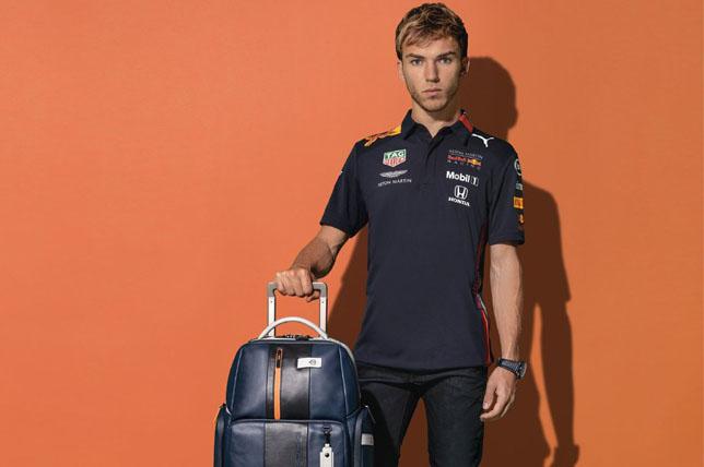 Пьер Гасли с чемоданом Piquadro