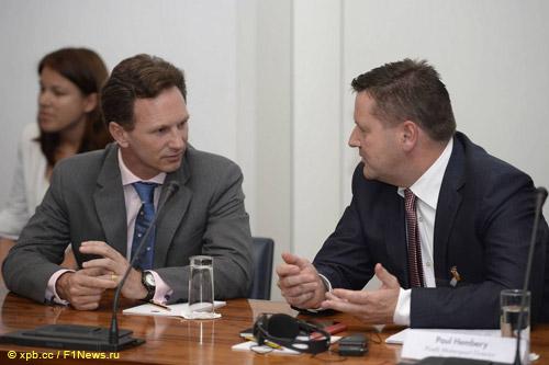 Кристиан Хорнер и Пол Хембри на заседании Международного Трибунала