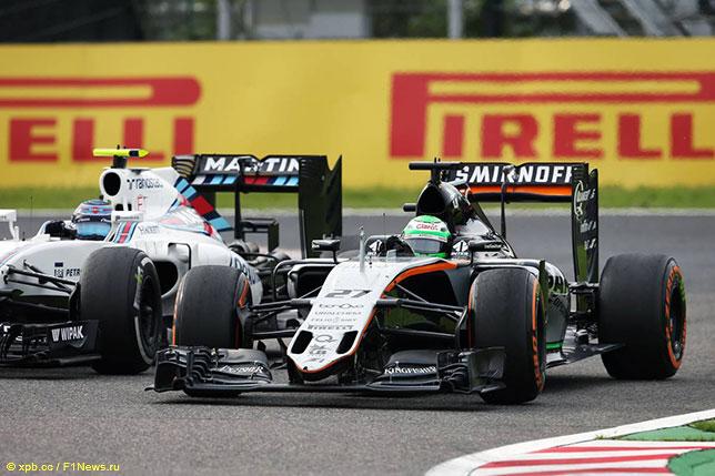 Нико Хюлкенберг опережает Валттери Боттаса на трассе Гран При Японии