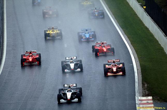 Старт Гран При Бельгии 1998 года: Деймон Хилл на 7-й позиции, но через мгновение всё изменится...