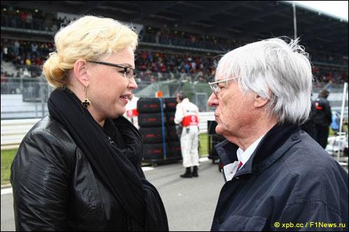 Оксана Косаченко с Берни Экклстоуном на Гран При Германии