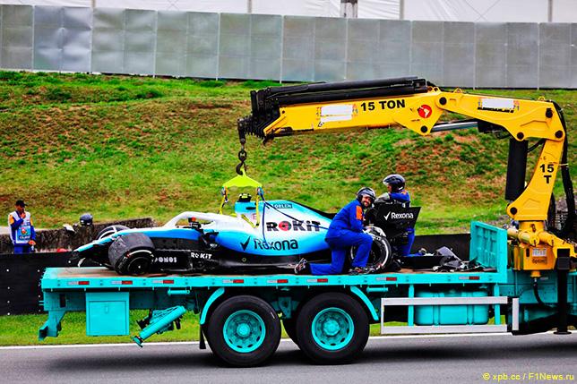 Машина Кубицы после аварии во второй тренировке